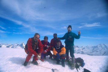 foto di gruppo in vetta all'Alphubel (3-8-1997)