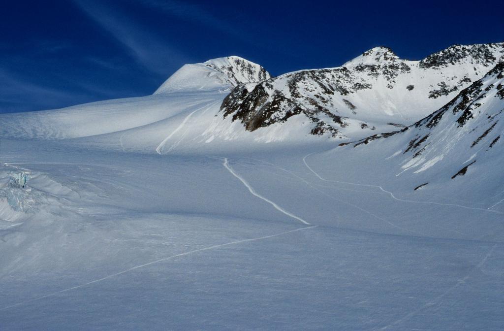Il ghiacciaio del Giogo Basso, la pista e il versante di salita al Similaun (21-6-1998)