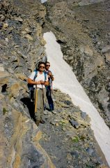 Guido e Gianni in uno dei canali attraversati sil versante Est del Monte Lechaud (26-7-1998)