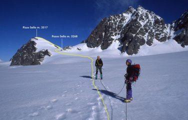 Sandro e Marianna sul Ghiacciaio di Scerscen con il percorso da seguire per raggiungere la cima (25-6-1999)