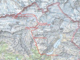 cartina tratta da CNS Piz Bernina in scala 1:25000