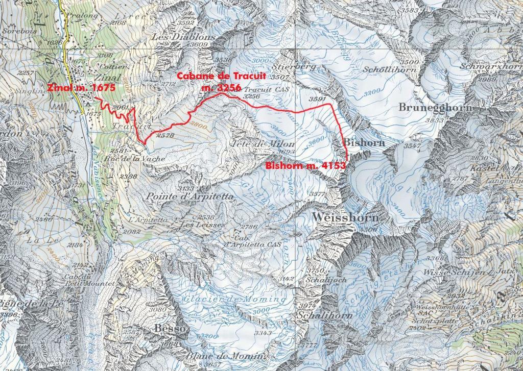 cartina tratta da CNS con l'itinerario di salita al Bishorn