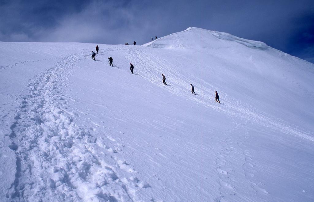 cordate di alpinisti nella parte alta del versante NO non lontani dalla cima (10-7-1999)