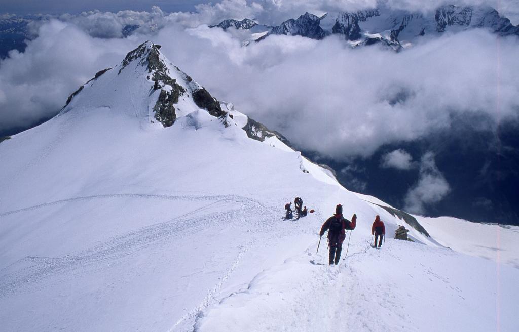 iniziamo la discesa dalla cima...con la Pointe Burnaby a portata di mano ! (10-7-1999)