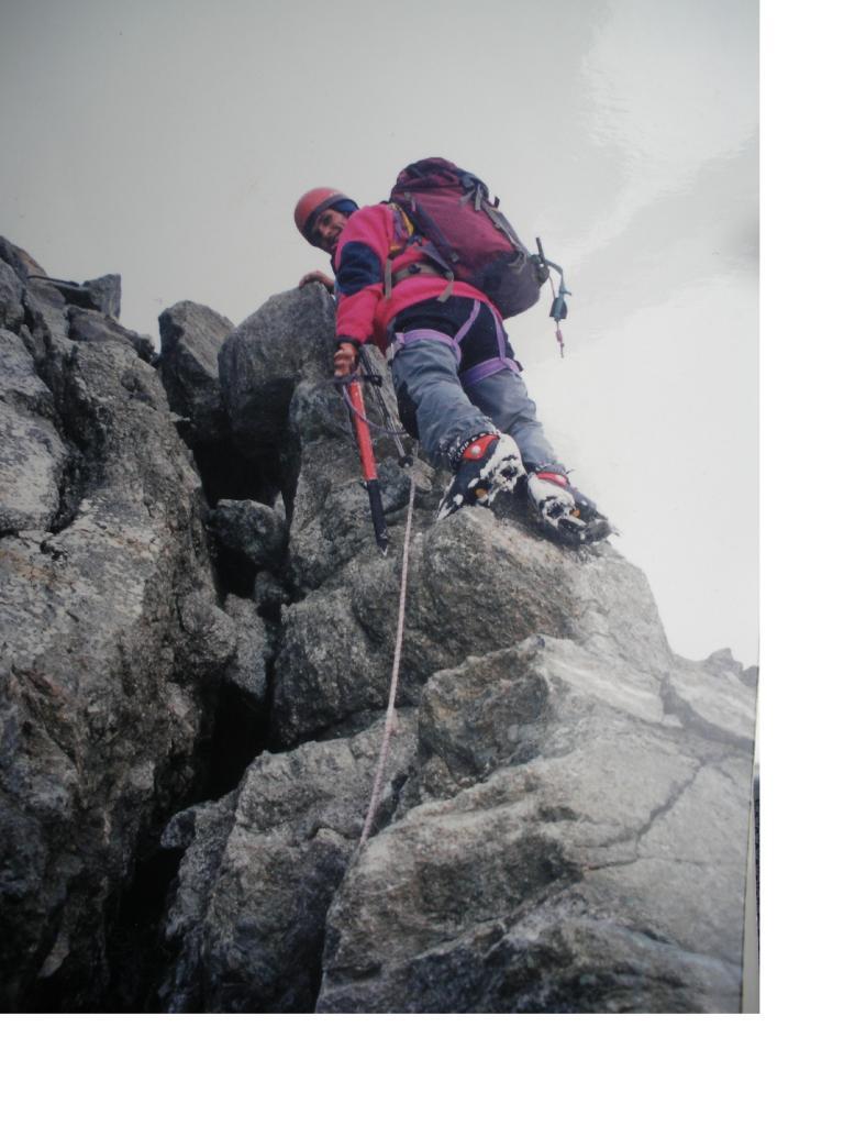 Il tratto roccioso della cresta che precede la vetta