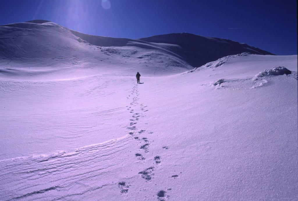 salendo lungo i facili pendii sommitali del Monte Giovo (11-2-2001)