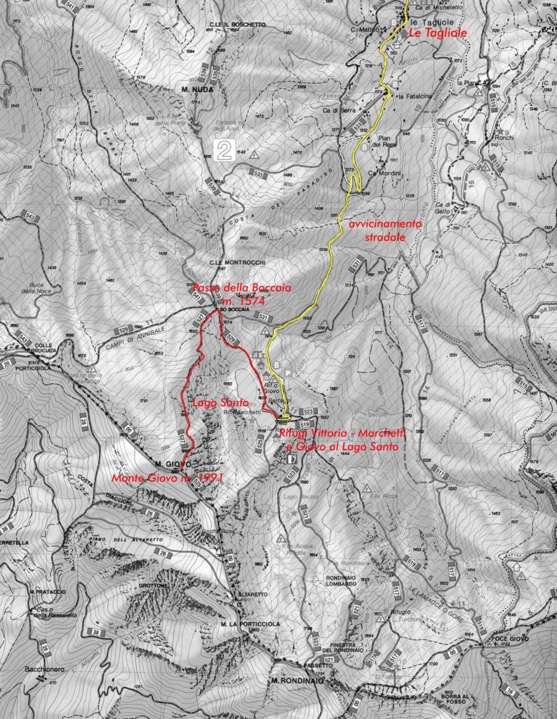 cartina del Gruppo Giovo-Rondinaio e itinerario di salita seguito