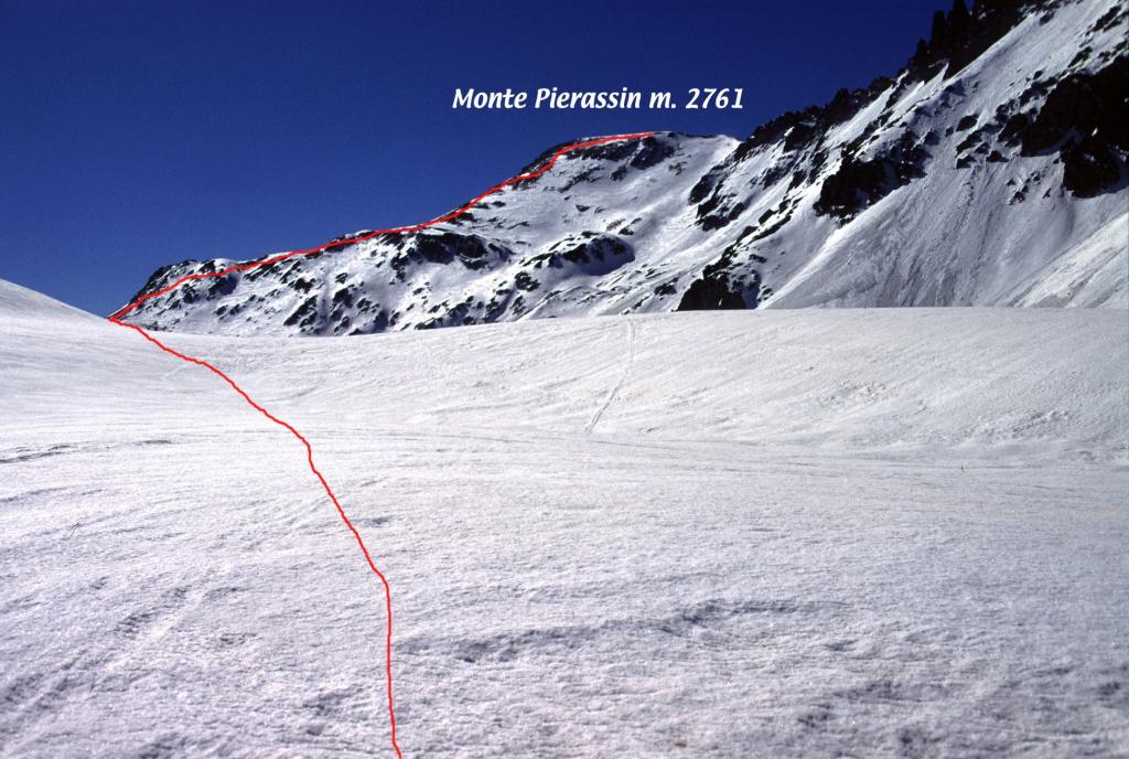 parte alta del vallone e via seguita per la cima (24-3-2002)