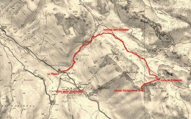 mappa IGN e tracciato della via di salita