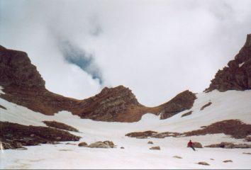 La forcella Falasca versante Val Chiarino