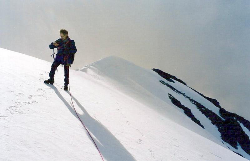 Scendendo dalla Vetta vista della cresta finale della Punta Kurz