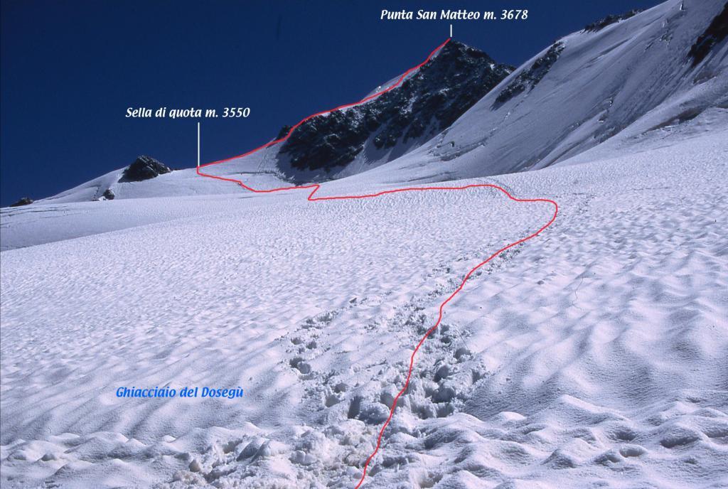 il tracciato seguito, visto da quota 3260 m. sul Ghiacciaio di Dosegù (29-6-2003)