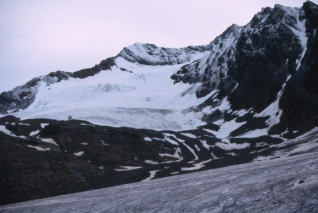dal ghiacciaio del Dosegù lo sguardo spazia sul vicino Pizzo Tresero (29-6-2003)