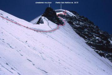 la parte alta della cresta NO della Punta San Matteo (29-6-2003)