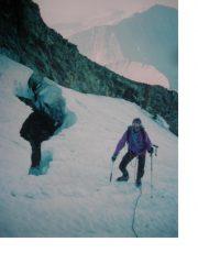 Salendo all'Aig.de Glacier dalla via normale...