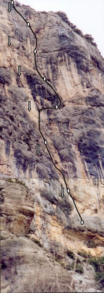 Vista della parete con l'itinerario.