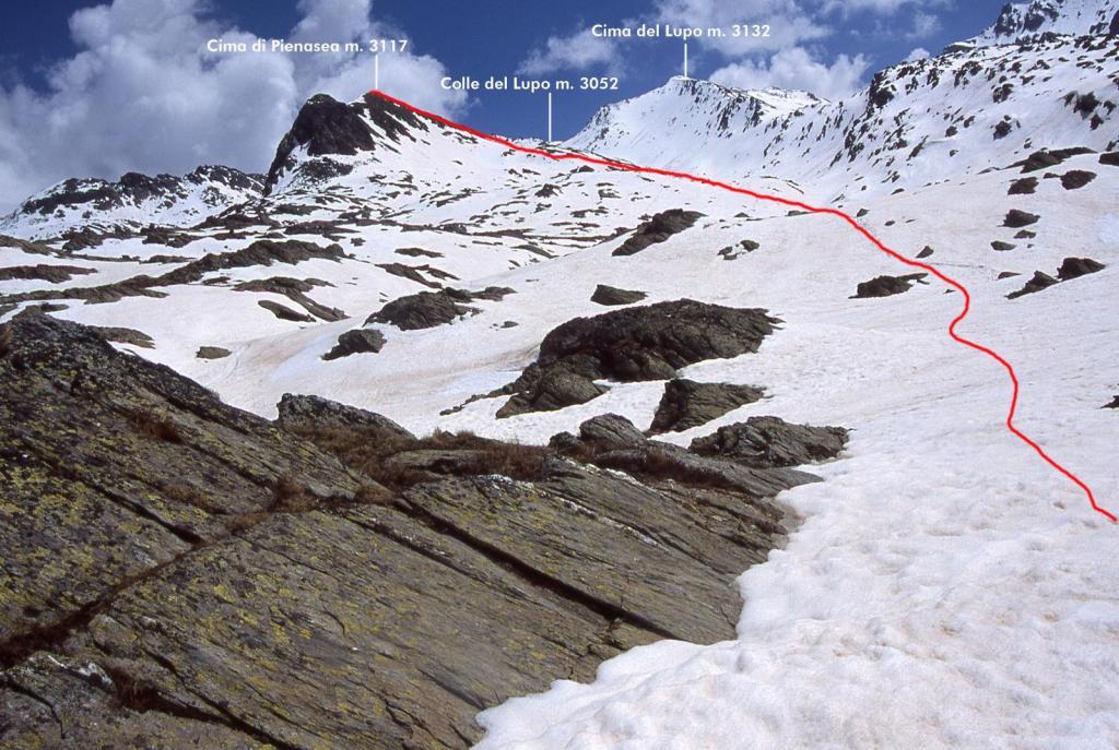 il Vallone del Lupo e la via seguita per la cima (30-5-2004)