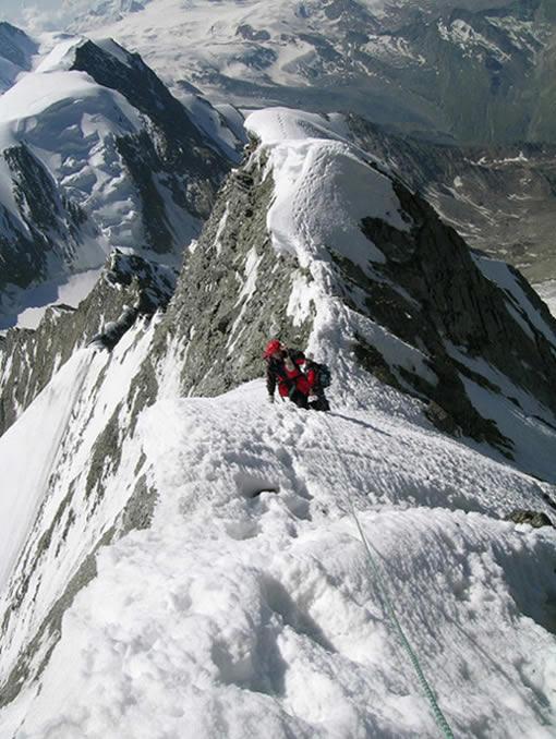 Angela e Roberto sulla cresta SE del Taschhorn