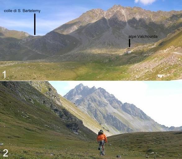 1) Vista sull'ultimo tratto dell'itinerario 2) In discesa poco sotto il colle con il M. Faroma sullo sfondo