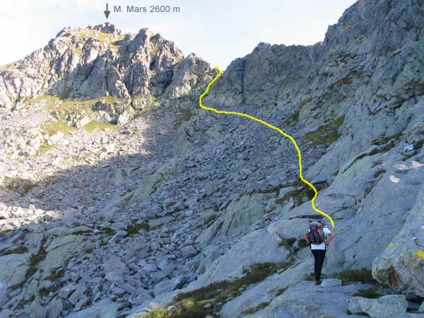 Nella foto si vede l'ultima parte dell'itinerario sul versante valdostano, poi si passa su quello Biellese.