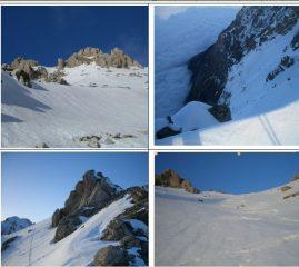 nella seconda foto in senso orario,la parete nord del Camicia tagliata a metà da un mare di nubi.