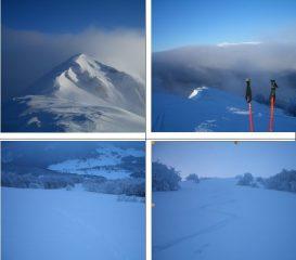 In senso orario:1)la vetta 2) la Maiella fa capolino sopra le nubi 3)e 4) la via di discesa