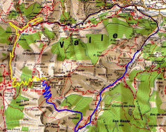 Barant (Punta) da Pralapia e discesa dalla Conca del Prà 2005-01-02