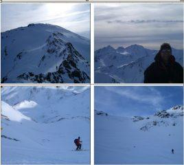In senso orario: 1)la non difficile cresta Nord 2)panorama sul Sesvenna 3) e 4) canalone di discesa