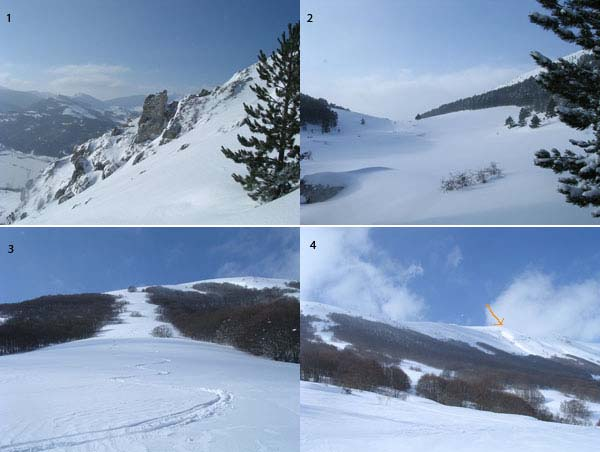 1) Ascesa verso Monte Calvario lato sud-ovest 2) Valle di S. Maria 3) Discesa in un canalone sottostante la cima 4) Veduta dal basso della cima
