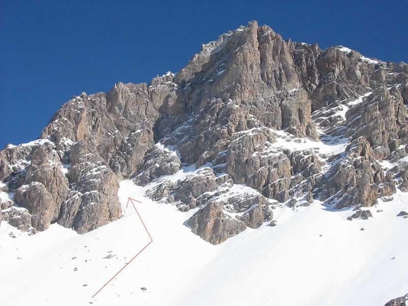 Oronaye (Monte) Couloir SO alla forcella della cresta ONO dell'Oronaye 2005-02-09