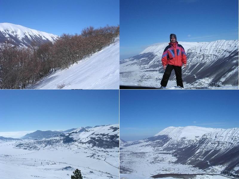 Dall'alto in senso orario: 1) Ascesa, sullo sfondo ben visibile la cima di Monte Rotella 2) Primo piano col lo sfondo della Majella 3) Panorama di Pescocostanzo e dintorni 4) La catena della Mjella