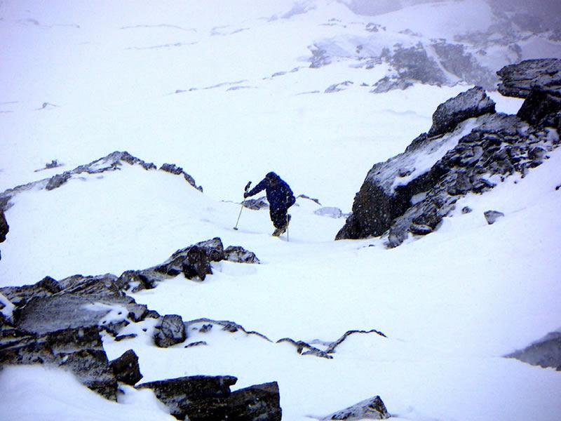 Gli ultimi 50m prima della cima sotto la neve