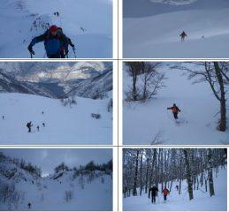 Da sx a dx e dall'alto in basso:1)Salita per Serra del Monte2)vicino alla vetta3)discesa con panorama sul lago di Scanno4)Achille a