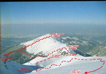 Cima Gardiola e itinerario di salita visto dalla cima del Cars, 2 giorni dopo.