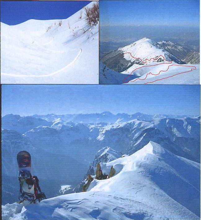 1.Discesa vallone serpentera 2.Percorso salita dalla cima 3.Sulla cima del CARS