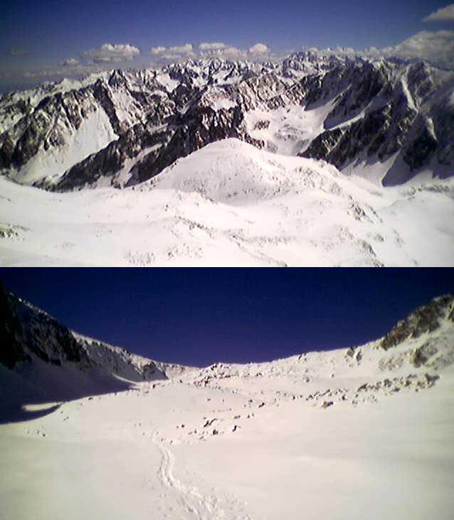 Dalla cima verso l'Autaret e l'Argentera sullo sfondo, in salita poco prima del passo di collalunga