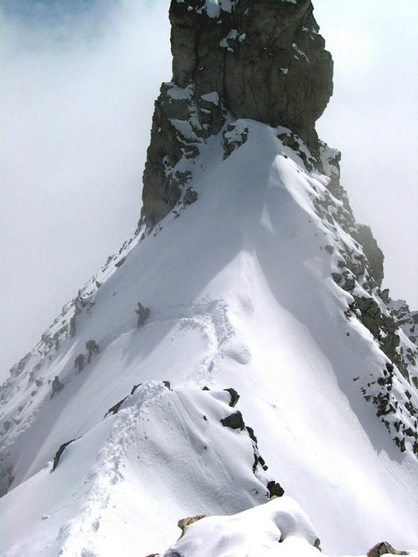 passaggio in cresta subito dopo il Castelletto Whymper