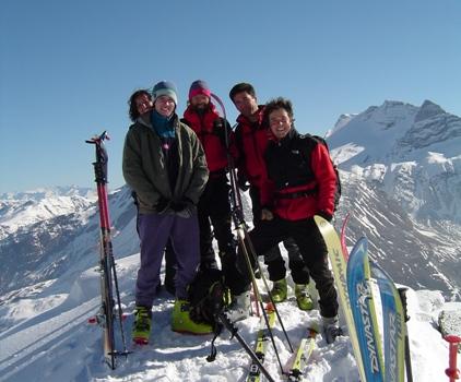 Giovanna, Paolo, ul Diretur (Paolo), Alberto e Matteo in vetta