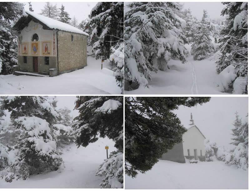 La cappella di St Pantaleon, il bosco, la cappella di St Evence