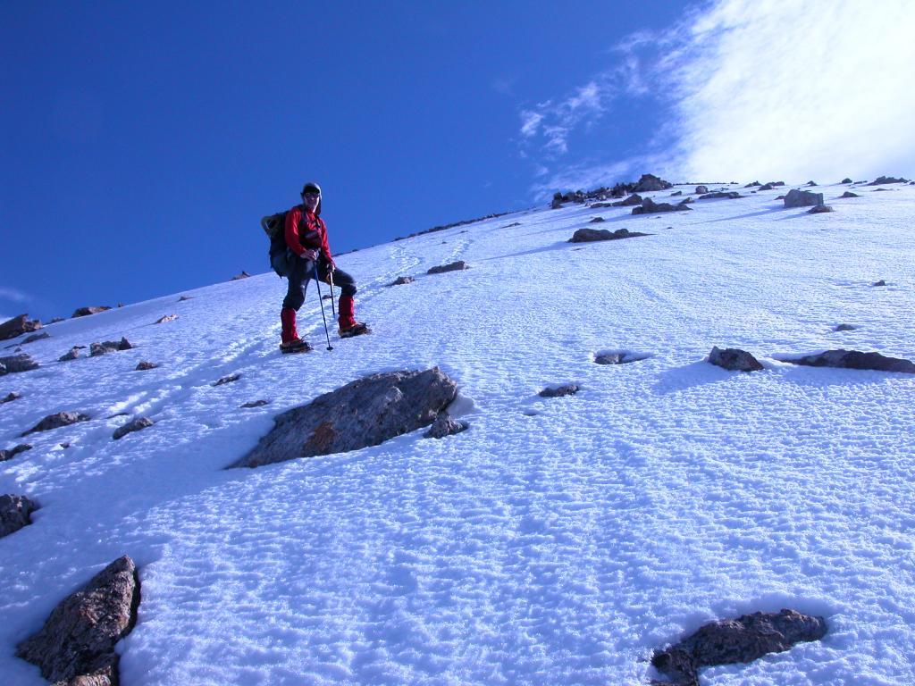 io sul pendio finale, a meno di 100 metri dalla cima (22-5-2005)