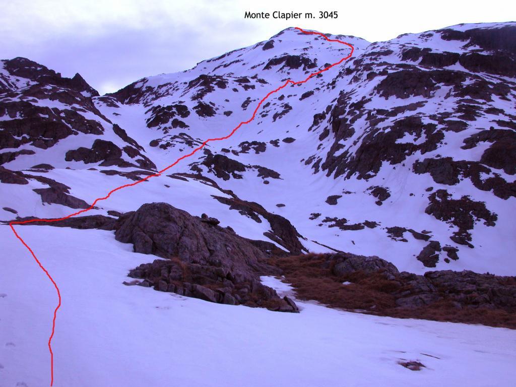 il versante di salita seguito per la cima (22-5-2005)