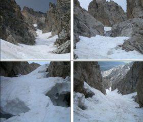In senso orario1)dal basso 2)crepaccio da aggirare per roccette 3)dall'alto 4)ponte di neve