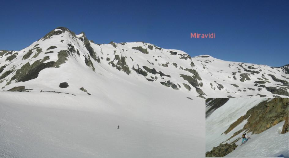 Miravidi con il ghiacciaio d'Arguerey, dal colletto compreso tra l'Aiguille de l'Ermite e la quota 2849 (foto Piccola:pendio per arrivare al colletto)