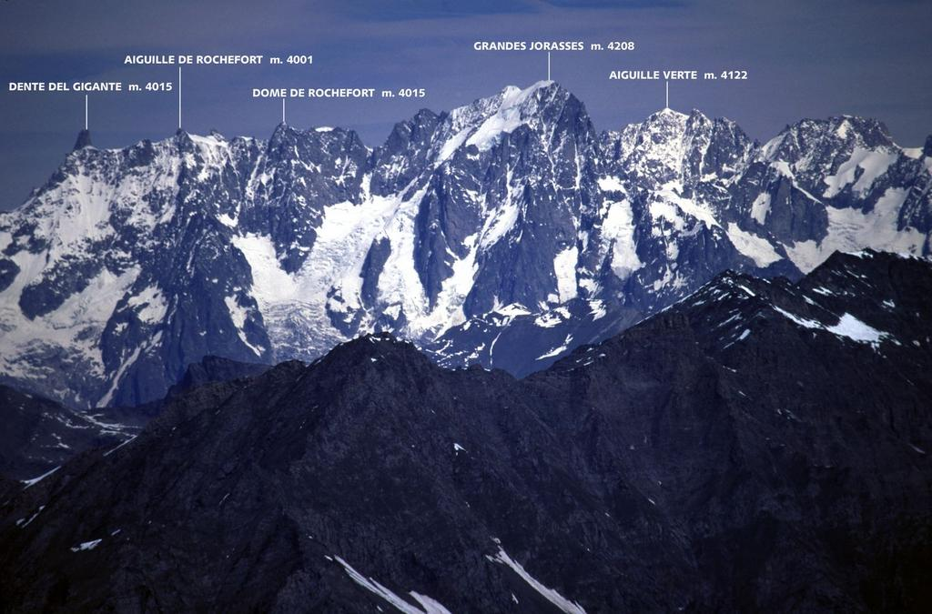 panorami dalla cima : dal Dente del Gigante all'Aiguille Verte (Gruppo del Bianco) (5-6-2005)