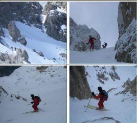 1)in salita vicino ai salti di roccia (sullo sfondo Forchetta di S.Colomba) 2)3)4)discesa dalla vetta