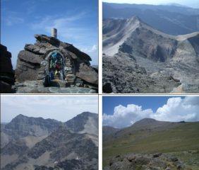 In senso orario1)vetta 2)vista sul Collado de la Mosca3)dorsale Sud del Mulhacèn 4)Alcazaba e Mulhacèn cara Norte visti dal Cerro Machos