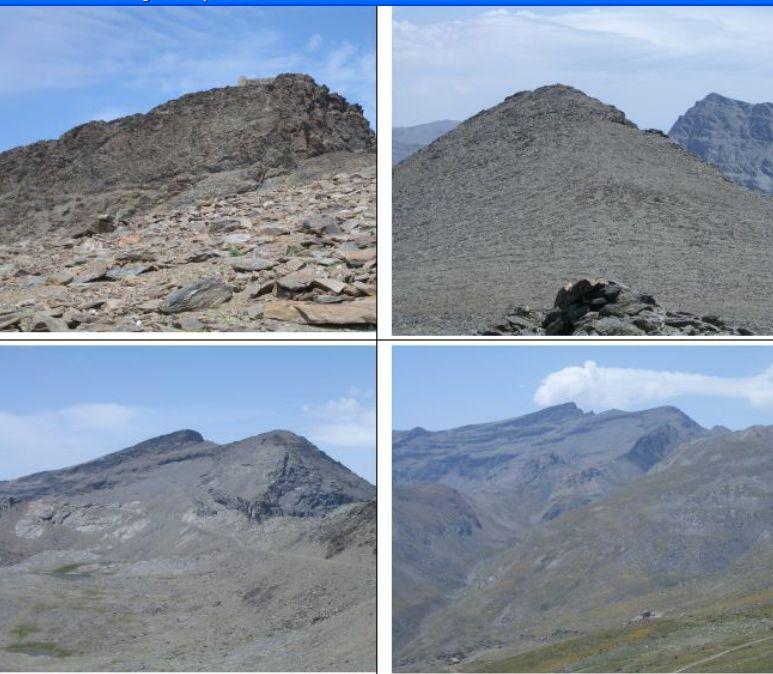 In senso orario1) Vetta del Veleta 2)vetta del Cerro de los Machos 3)e 4) Panorama di Veleta e Cerro de los Machos