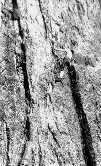 Nito Staich nel 1950 apre la direttissima, foto  d'epoca sul primo tiro