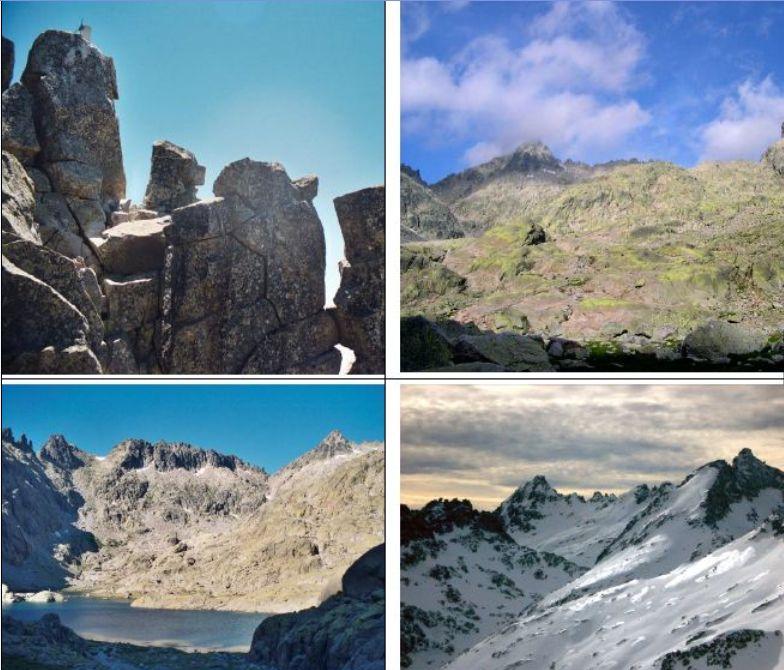 in alto a sx Vetta,in basso a dx foto di repertorio invernale,nelle altre due foto panorami dalla Laguna de Gredos