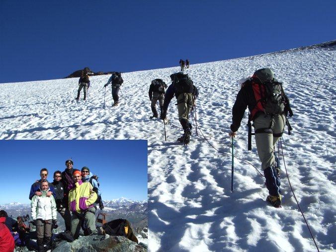 Primo tratto del ghiacciaio e foto di gruppo in vetta